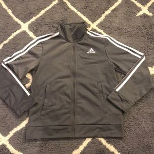 White and Gray adidas zip up sweatshirt
